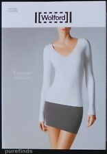 Wolford Viscose V-neck Pullover Top Size Small in Silver Cloud