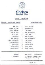 Chelsea Football Reserve Fixture Programmes (1980s)