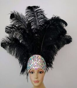 New Prime Ostrich Plumes Feather Carnival  Headdress- Showgirl