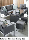 Palermo Garden Outdoor Furniture Grey Rattan 7 Seat Dining Set With 2 Stools