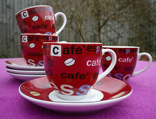 Set of Four Cafe Espresso Porcelain Cups & Saucers