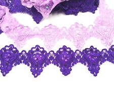 ANR-Bridal Lace Floral Embroidered Pearl Trim Ribbon Wedding Dress Edging 4.5''