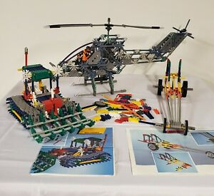Vintage K'Nex Mixed Lot Bulldozer Cobra Striker Helicopter Dragster Parts Pieces