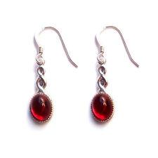 CELTIC earrings Red Sterling silver gothic goth steampunk wedding garnet
