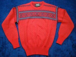 Vintage OSSI Skiwear Juniors Boys L Crewneck Red Acrylic Wool Knit Ski Sweater