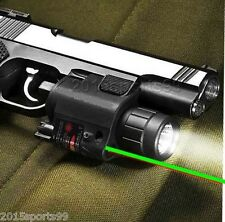 Tactical Led Flashlight + Green Laser Sight + remote switch fit pictatinny Rail