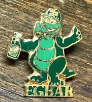 Vintage Egbar Alligator Simple Green Foundation Lapel Pin Metal Gold Tone