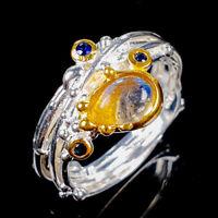 Labradorite Ring Silver 925 Sterling Vintage7x5mm Size 7.5 /R128886