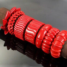 Red Turquoise Gemstone Beads Huge Stretchy Bracelet