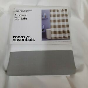 Room Essentials Oeko-Tex Grey/White Rugby 72 X 72 Shower Curtain