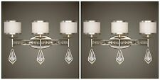 TWO TAMWORTH AGED SILVER LEAF CRYSTAL DETAIL WALL VANITY SCONCE LIGHT UTTERMOST