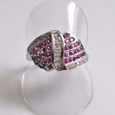 Edler Rubin Baguette Weißtopas Designer Ring 925er Sterlingsilber 61 (19,4 mm Ø)