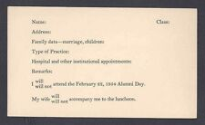 Ca1954 POSTAL CARD NEW HAVEN CT YALE ALUMNI TO UPDATE THEIR ROSTER & LUNCHEON