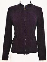 Vtg 90s sz S Purple Mod Military Layering Blazer Jacket w/ Ruched Zipper