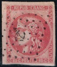 FRANCE BORDEAUX 80c ROSE N° 49 RARE OBLITERATION ANCRE NOIRE COTE MAURY 500 €