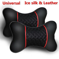 2Pcs Universal PU Leather Knitted Car Seat Headrest Cushion Neck Pillows Support