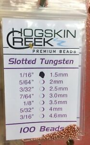 Slotted Tungsten Beads 100 Ct. Copper All Sizes 1/16 to 3/16