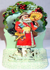 VICTORIAN SANTA w/ PARASOL 3D CHRISTMAS CARD Stand to Display MINT Merrimack