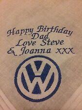 Personalised Embroidered Handkerchief Birthday Dad Brother Grandad Vw Volkswagen