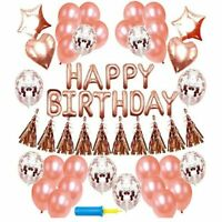 48Pcs Happy Birthday Foil Balloons Set Bunting Banner Party Decoration Rose Gold