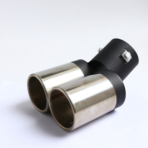 Car Chrome Exhaust Muffler Tip Dual Pipe Trim Modified Rear Tail Throat Liner