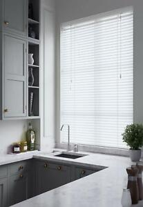 Venetian Blinds Faux Wood 50mm  White - Made to Measure - Smooth or Wood grain