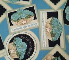 Hydrangea Bounty BTY Angela Anderson VIP Blue Floral Sayings Patch Black
