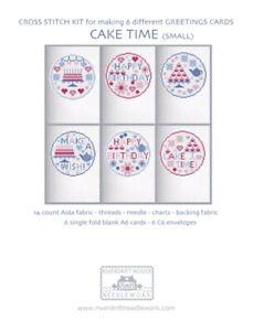 6 CROSS STITCH Birthday - Greetings Cards KIT CAKE TIME Riverdrift House