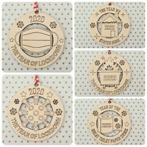 Lockdown 2020 Bauble ~ Christmas Tree Decoration ~ Wooden Gift ~ 5 Designs