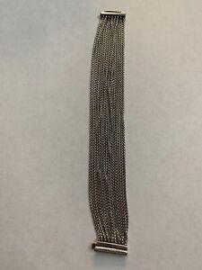 "DAVID YURMAN Sterling Silver Multi Chain Box Link 16 Strand 7"" Bracelet"