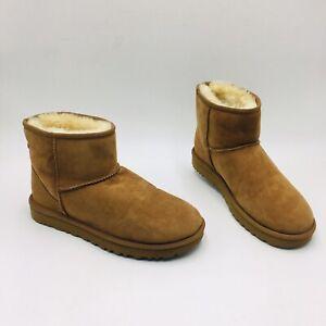 UGG Women's Classic II Mini Boots Size 10M Chestnut Suede/Sheepskin