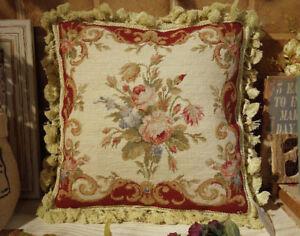 "VICTORIAN Rose Antique 14"" Elegant Whole Petit Point Throw Pillow Cushion"
