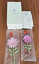 Pottery Barn Kids Metal Flower Hooks Set Of 2 PINK/ Original Box And Hardware