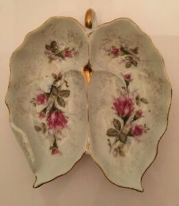 Vintage Porcelain Double Leaf Trinket Tray Dish White Roses Scalloped Gold Trim