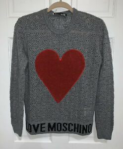 Love Moschino Women's Sweater Size 40 Grey Crew Neck Red Heart Pullover Logo