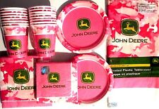 JOHN DEERE PINK Birthday Party Supply Kit w/ Lunch & Beverage Napkins !