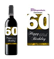 Gold Happy 60th Birthday Glossy Wine & Champagne Bottle Gift Present Label