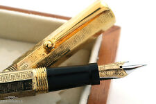 Montegrappa Reminiscence Etched 925 Vermeil Fountain Pen - RARE!