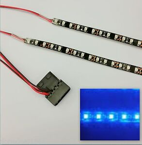 BUDGET DOUBLE DENSITY BLUE LED CASE LIGHT (2 X 20CM STRIPS) MOLEX 60CM TAILS