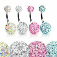 Multi Crystal Sparkly Ferido Shamballa Navel Belly Bar 10mm Double Gem