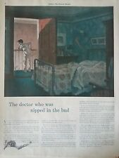 1940 Travelers Insurance Co Doctor Nipped in Bud Boy Pajamas Bed Original Ad