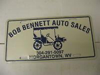 West Virginia WV Bob Bennett Auto Sales Morgantown Dealer Booster License Plate