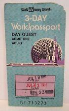 WALT DISNEY WORLD EXPIRED 3-DAY ADMISSION PASS PASSPORT EPCOT 1984 THEME PARK