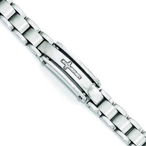 """Chisel Stainless Steel Polished & Brushed CZ Cross ID Bracelet 8.5"""""""