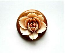 Vintage Plastic Pale Pink Rose Flower on Wood Base Pin Brooch