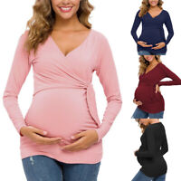 Women Maternity Nursing Solid V Neck Long Sleeve Tops Pregnancy Blouse Tee Shirt