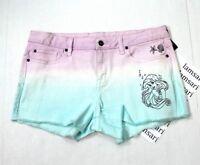 Disney The Little Mermaid Ariel Dip Dye Cut-Off Raw Hem Denim Shorts Juniors 1