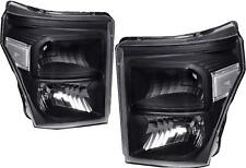 Black Housing Headlight Clear Corner Signal for 11-16 Ford 250 F350 Super Duty