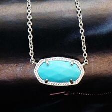 NWT Kendra Scott Elisa Turquoise Short Necklace Silver Tone