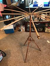 ANTIQUE  WOOD  CLOTHES LAUNDRY HERBS DRYING RACK TRIPOD STAND